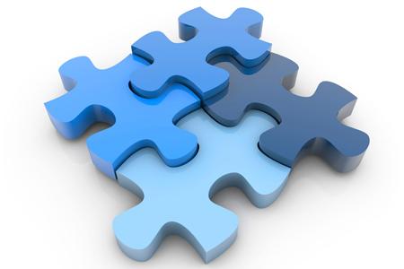 Simbolična slika puzel, ki predstavlja veliko računalniških sistemov, ki skupaj pripomorejo k upravljanju proizvodnih procesov