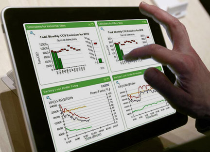 uporabnik na tablicnem racunalniku pregleduje dogajanje v proizvodnji